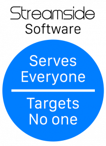 Logo with text Serves Everyone, Targets No one